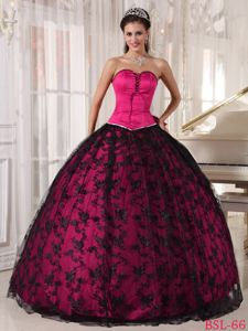 Exquisite Hot Pink Sweetheart Sweet 15 Dresses with Bow in Tulle