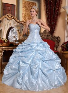 Baby Blue Pick-ups Dress for Quinceanera with Beaded Appliques