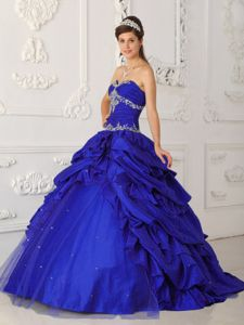 Blue Pick-ups Beading Appliques Quinceanera Gowns on Discount