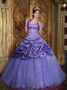 Fashionable Taffeta and Tulle Purple Sweet 16 Dresses with Beading