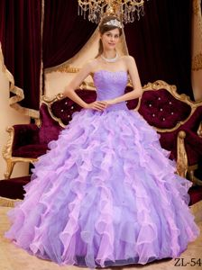 Lilac Beaded Ruche Quinceanera Party Dress with Ruffles 2014