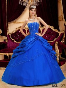 Elegant Blue Ball Gown Taffeta Quinceanera Dress with Embroidery