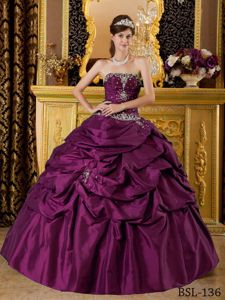 Nice Beaded Appliques Dresses for Quince with Pick-ups in Purple