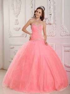 Sweet Beading Sweetheart Tulle Quinceanera Gown Dresses in Pink