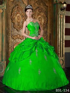 Voguish Sweetheart Appliques Quinceanera Gowns in Spring Green