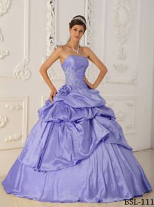 Lilac Pick-ups Strapless Appliques Sweet Sixteen Dresses Discount
