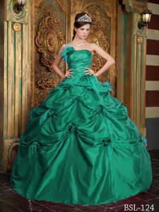 Attractive Green Strapless Beading Sweet 16 Dresses with Pick-ups