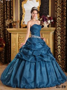 Steel Blue Ruche Appliques Quinceanera Dresses with Floor-Length