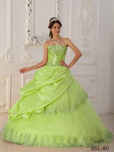 Lovely Strapless Appliques Dress for Sweet Sixteen in Yellow Green