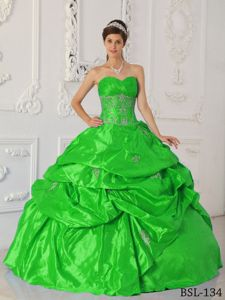 Green Ruche Sweetheart Appliques Dress for Quince with Pick-ups