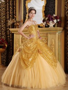 Gold Tulle Sequins Quinceanera Dresses with Hand Made Flowers