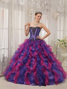 Miss Earth Two-toned Organza Ruffles Quinceanera Party Dress with Appliques