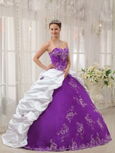 White and Purple Dress for a Quince with Embroidery and Beading