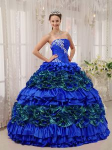 Two-toned Strapless Ruffles Dress for Quinceanera with Appliques
