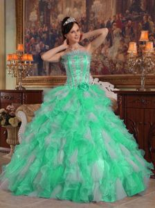 Apple Green Strapless Hand Made Flowers Ruffled Dress for Quince