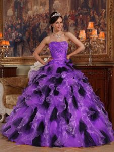 Beading Purple and Purple Ruches and Ruffles Sweet 15 Dresses