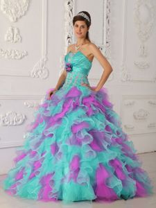 Colorful Strapless Hand Made Flowers Ruffles Dress for Sweet 16