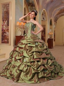 Olive Strapless Beading Appliques Pick-ups Accent Dress for Quince
