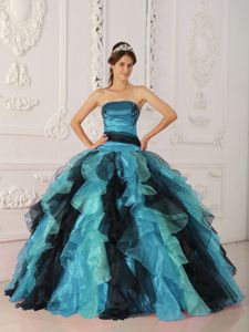 Colorful Strapless Appliques and Ruffles Decorate Quince Dresses
