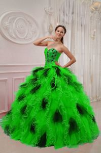 Green and Black Sweetheart Beading and Ruffles Quince Dresses Joni Mitchells dress