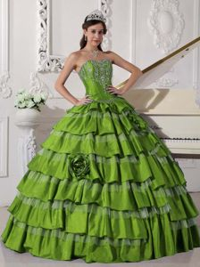 Spring Green Sweetheart Embroidery Multi-tiered Dress for Quince