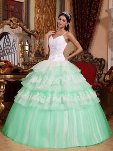 Mint Colored and White Spaghetti Straps Tiered Quinceanera Dresses