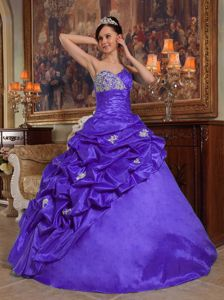 Blue Sweetheart Beading Appliques Pick-ups Dress for Quince