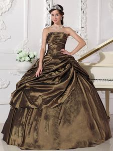 Unique Brown Strapless Ruched Bust Pick-ups Dress for Sweet 16