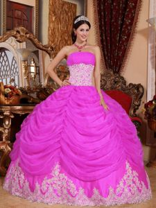 Hot Pink Strapless Beading Ruffles Quince Dresses Custom Made