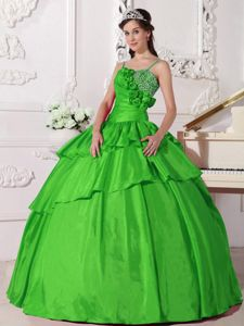 Spring Green Spaghetti Straps Beading and Pleated Dress for Quince