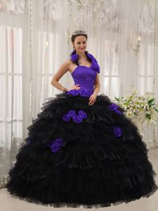 Black and Purple Halter Top 3D Flowers Tiered Sweet 15 Dresses