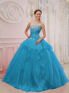 Aqua Blue Strapless Beading Appliques Quince Dresses with Ruffles