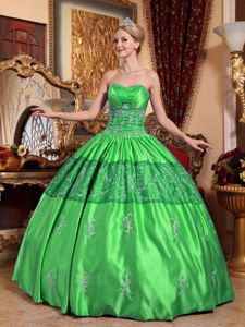 Grass Green Embroidery Pleats and Ruches and Dress for Quince