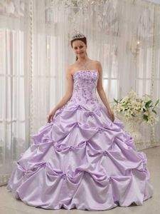 Lavender Strapless and Pick-ups Accent Sweet 16 Dresses