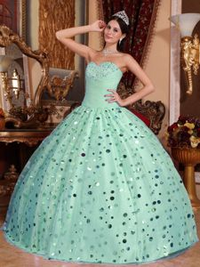 Apple Green Beading and Sequins Decorate Pleas Dress for Sweet 16
