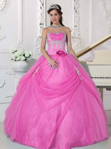 Pink Strapless Beading Appliques Quince Dresses with Pick-ups