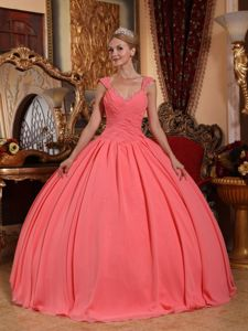 Watermelon Ruched Bust V-neck Beading Pleated Dress for Sweet 16