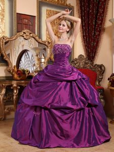 Elegant Eggplant Strapless Beading Pick-ups Dress for Quince
