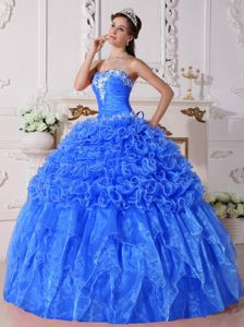 Blue Strapless Embroidery and Ruffles Dress for Quince Plus