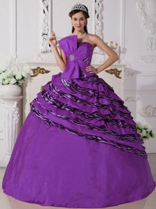 Purple Strapless Zebra Dress for Quince with Hand Made Flowers High Quity Quinceanera Dresses