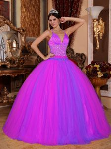 Taffeta and Tulle Beading Waist V-neck Ball Gown Dress for Quince