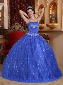 Royal Blue Spaghetti Straps Beading and Sequins Dress for Sweet 16