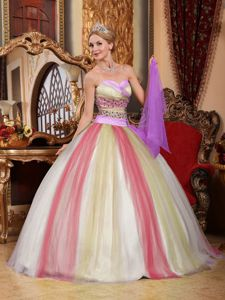 Colorful Sweetheart Appliques and Ruffles Sweet Sixteen Dresses