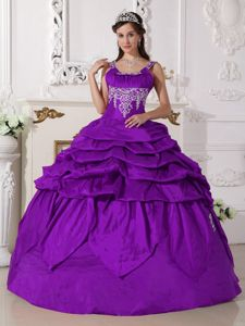 Purple Beading Ball Gown Pick-ups Dress for Quince with Straps