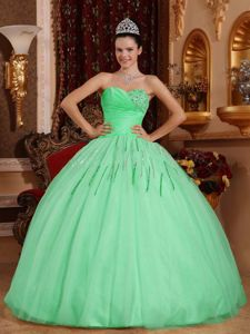 Apple Green Sweetheart Ruched Bust Sequins Sweet Sixteen Dresses