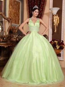 Yellow Green Pleated and Beaded Quinceanera Dresses with Straps