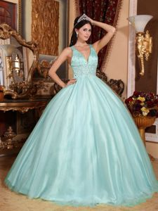 V-neck Ball Gown Quince Dresses with Beading Waist