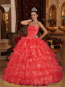Coral Red Strapless Beading Ruched Bust Ruffled Quinceanera Dresses