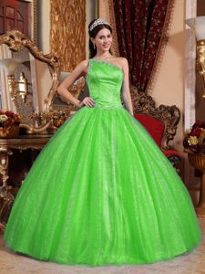 one Shoulder Pleated Beading Spring Green Sweet Sixteen Dresses