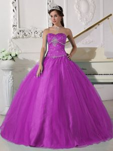 Fuchsia Sweetheart Beading Pleated Dress for Quince Custom Made